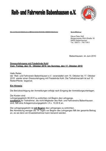 Dressurlehrgang in Babenhausen 15.-17. Okt.2010 - Krb-da-di.de