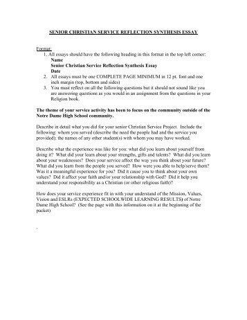 Christian service reflection essay classwide student tutoring teams cstt dissertation