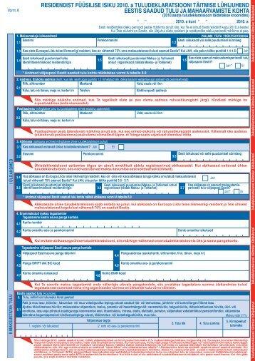 Vorm A täitmise lühijuhend - Maksu- ja Tolliamet