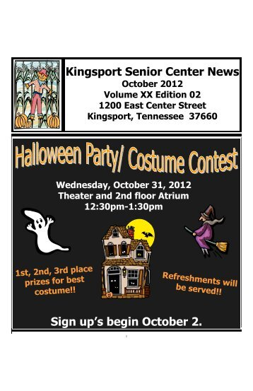October newsletter - City of Kingsport Tennessee Senior Center