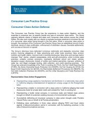 Consumer Law Practice Group Consumer Class Action Defense