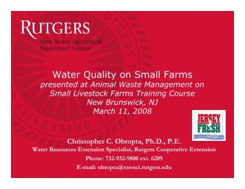 Water Quality on Small Farms - Rutgers Cooperative Extension ...