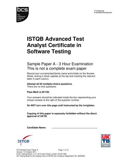 test analyst documentation