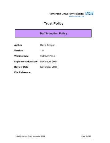 Staff Induction Policy - Homerton University Hospital