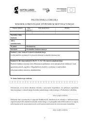 Wniosek o przyznanie stypendium motywacyjnego - Techne