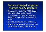 Farmer-managed irrigation systems and Aquaculture - University of ...