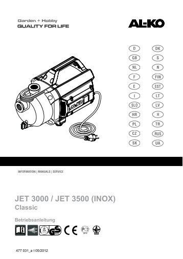 JET 601 / 802 JET 601 INOX / JET 802 INOX JET 1002 INOX