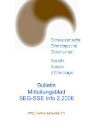 Aus der Gesellschaft / Vie de la Société - Société Suisse d'Ethnologie