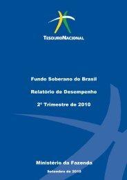 Relatório de Desempenho FSB 2º Trimestre 2010 - Tesouro Nacional