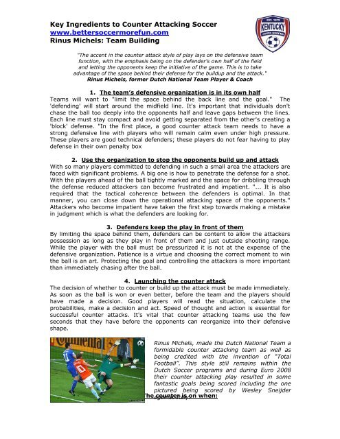 Key Ingredients to Counter Attacking Soccer www