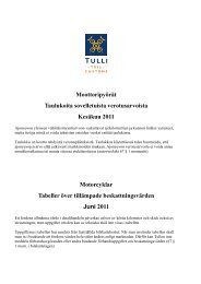 Motorcyklar Tabeller över tillämpade beskattningsvärden Juni ... - Tulli