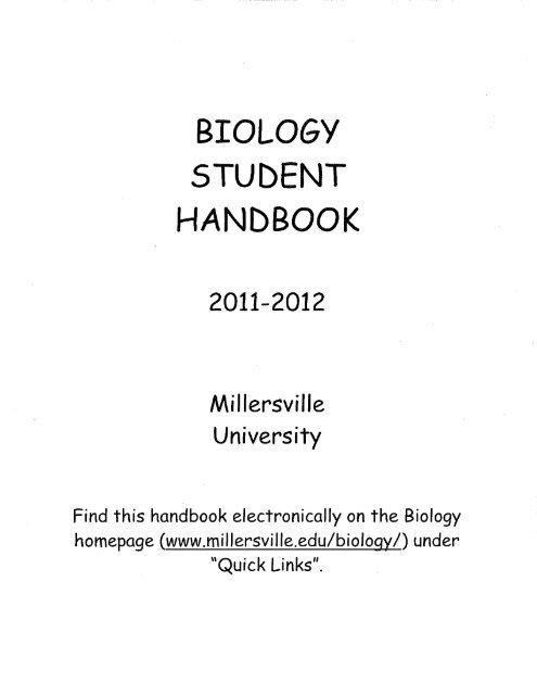 BIOLOGY STUDENT I HANDBOOK - Millersville University
