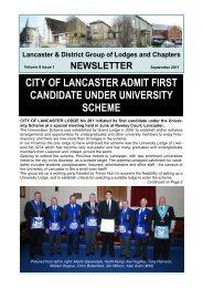 September 2011 Newsletter - Lancaster and District Masonic Group
