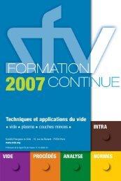 Catalogue des FORMATIONS 2007 - Vacuum-Guide