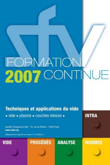 Catalogue des FORMATIONS 2007 - Vacuum-Guide