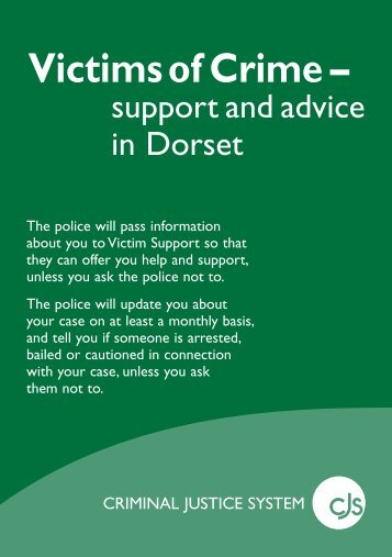 Link to download the Victims of Crime leaflet - Dorset Police