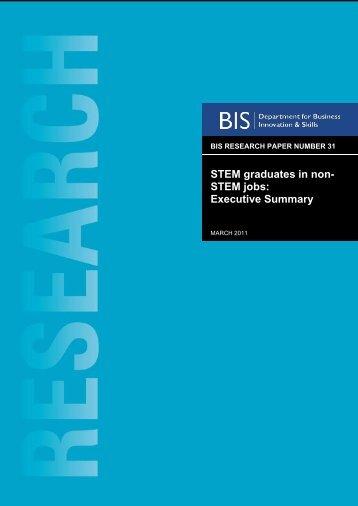 STEM graduates in non-STEM jobs: Executive Summary - Gov.UK