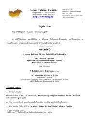 Magyar Talajtani Társaság http://www.talaj.hu Tájékoztató MEGHÍVÓ