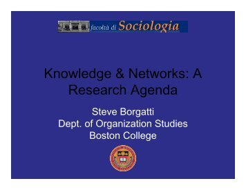 Knowledge & Networks: A Research Agenda - Analytic Technologies