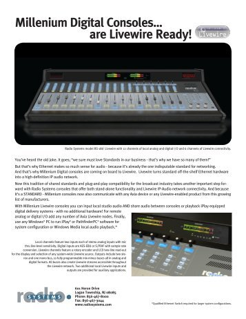 Millenium Digital Consoles... are Livewire Ready! - Radio Systems