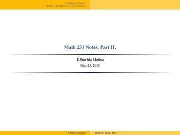 Math 251 Notes. Part II.