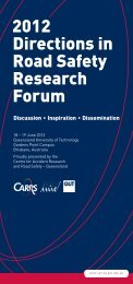 2012 Directions in Road Safety Research Forum - Centre for ...