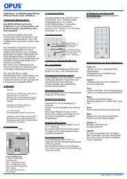Bedienungsanleitung OPUS-Audio (Art.-Nr ... - OPUS Schalter