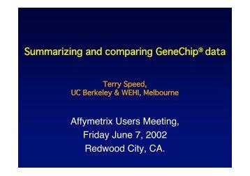 Summarising & Comparing GeneChip® Data