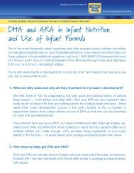 DHA and ARA in Infant Nutrition and Use of Infant Formula