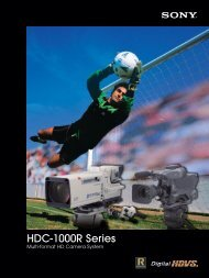 HDC-1000R Series - Sony Professional Solutions Asia Pacific