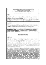 PROPOSITION DE SUJET DE THESE 2011/2014 AU CENTRE DES ...