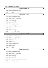 Time Schedule of the Seminar
