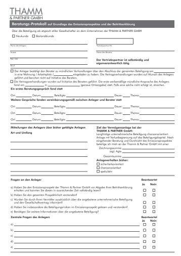 Page 1 Name des Anlegers Strasse PLZ / Ort Beruf Vertriebspartner ...