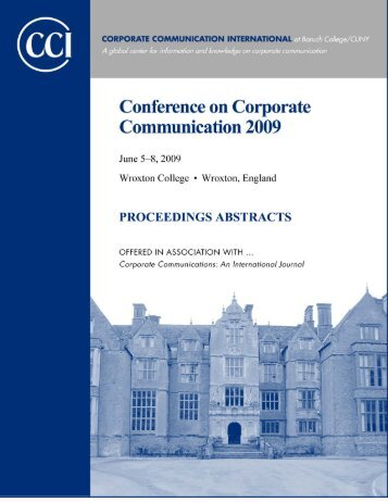 Abtracts of Proceedings 2009 - Corporate Communication ...