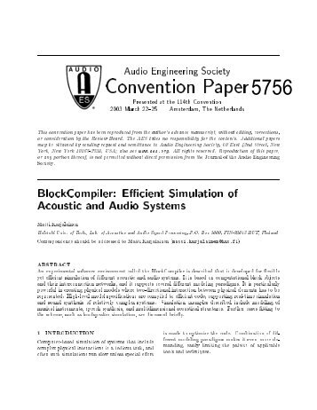 BlockCompiler: Efficient Simulation of Acoustic and Audio Systems