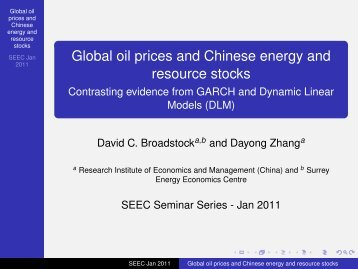 Global oil prices and Chinese energy and resource stocks