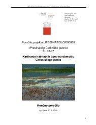 Kartiranje habitatnih tipov - Presihajoče Cerkniško jezero