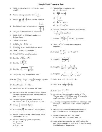 Sample Test Questions for Mt. SAC Math Placement Test
