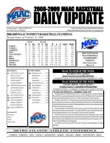 2003-04 MAAC Weekly Report - Metro Atlantic Athletic Conference