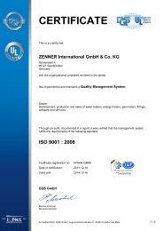 DQS Certificate 9001:2008 - Zenner