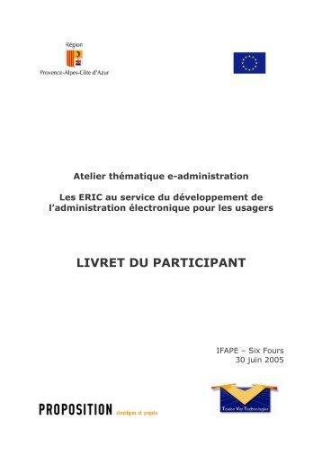 Livret du participant - ERIC - Région Provence-Alpes-Côte d'Azur