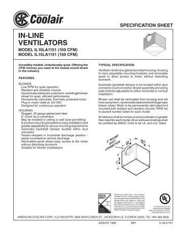 IN-LINE VENTILATORS - American Coolair