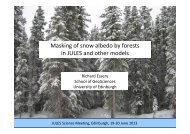 Masking of snow albedo by forests in JULES and other models