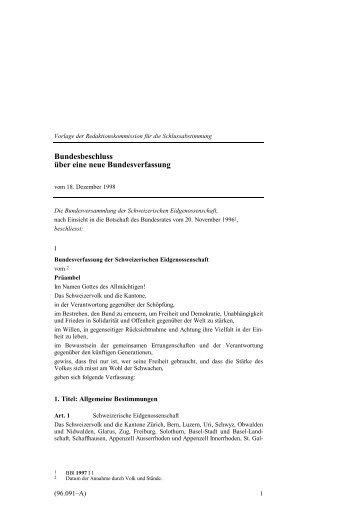 Bundesverfassung vom 18. April 1999