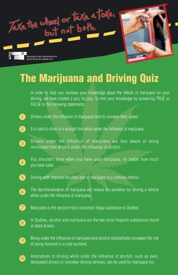 The Marijuana and Driving Quiz
