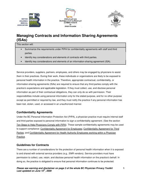 Managing Contracts and Information Sharing Agreements (ISAs)