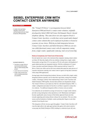 siebel enterprise crm with contact center anywhere - Promero