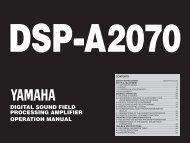 digital sound field processing amplifier operation manual - Yamaha