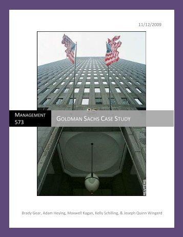 Goldman Sachs Case Study - Anderson School of Management