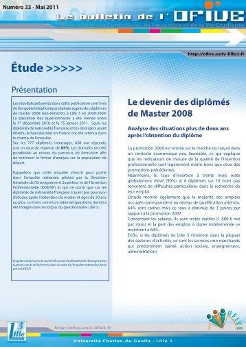 Le devenir des diplômés de Master 2008 - OFIVE - Lille 3
